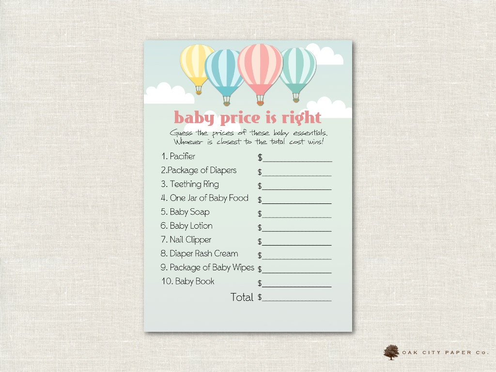 Hot Air Balloon Price Is Right Baby Shower Game Balloon Baby Etsy