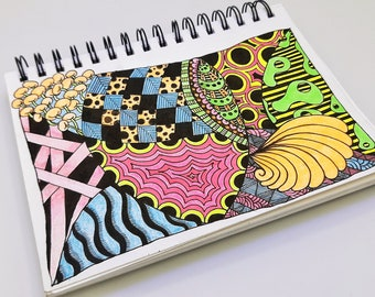 original psychedelic multimedia uv drawing, trippy neon zentangle doodle art, blacklight activated decor, vibrant original sketch 5.5x8.5
