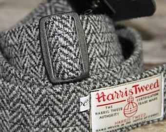 1.6'' and 2'' wide Harris Tweed guitar straps in black and white herringbone
