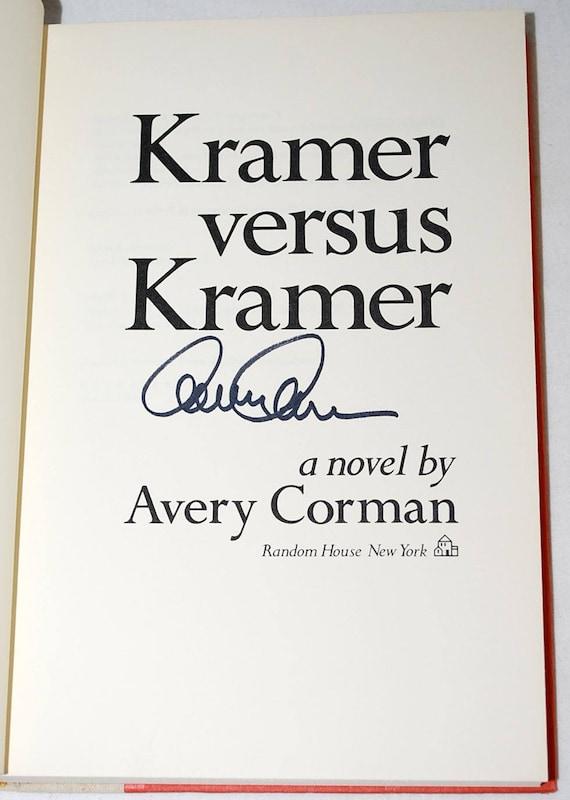 Signed Kramer Versus Kramer By Avery Corman First Edition Etsy