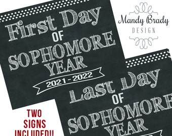 First Day of Sophomore Year Printable Signs | Last Day of Sophomore Year Sign | Back to School 2021 | Instant Download | Sophomore Year