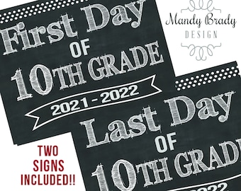 First Day of 10th Grade Printable Signs | Last Day of Tenth Grade Sign | Back to School 2021 | Instant Download | Chalkboard 10th Grade