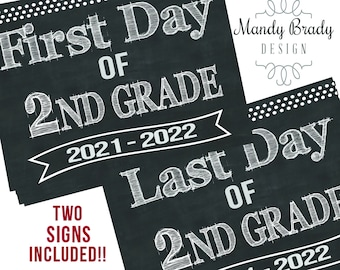 First Day of 2nd Grade Printable Signs | Last Day of Second Grade Sign | Back to School 2021 | Chalkboard 2nd Grade