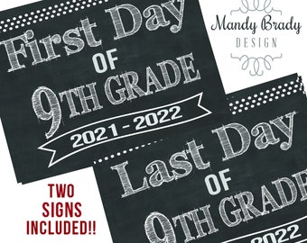 First Day of Ninth Grade Printable Signs | Last Day of Ninth Grade Sign | Back to School 2021 | Instant Download | Chalkboard 9th Grade