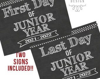 First Day of Junior Year Printable Signs | Last Day of Junior Year Sign | Back to School 2021 | Instant Download | Junior Year Printable