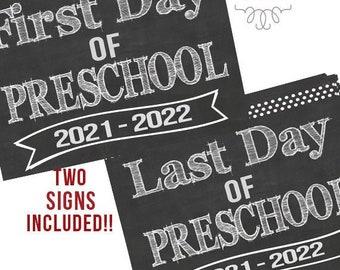 First Day of Preschool Printable Signs | Last Day of Preschool Sign | Back to School 2021 | Instant Download | Chalkboard Preschool Sign