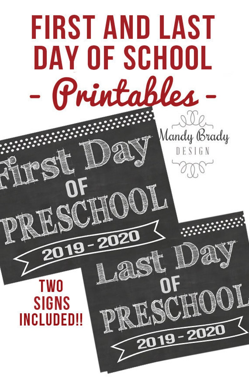 graphic relating to First Day of Preschool Printable known as 1st Working day of Preschool Printable Indications Previous Working day Pre college Back again in direction of University 2019 Fast Down load Chalkboard Preschool Electronic Record