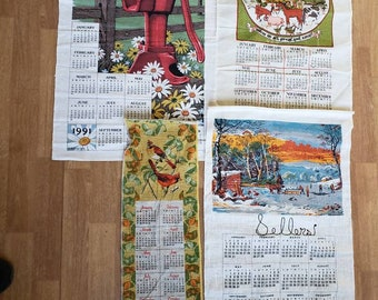 bright colors with tags New 1991 linen wall calendar vintage in original cellophane