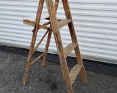 Wooden step ladder, step stool, plant stand display shelf 3step ladder