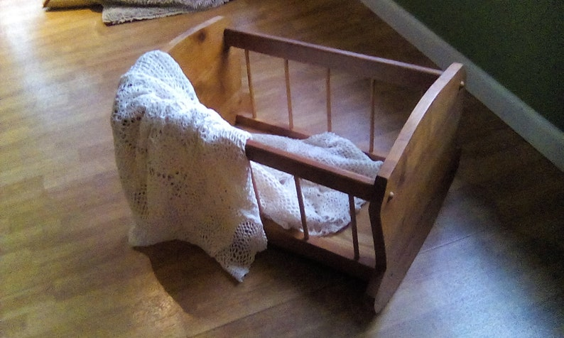 Vintage Wooden Baby Cradle Rustic handcrafted newborn bassinet nursery decor photo prop Doll bed Pet Bed