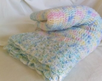 Hand made baby blanket 39x44  crochet Blue green pink yellow white gift idea