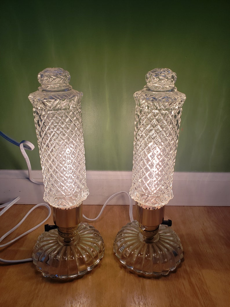 2 crystal lamps vintage lighting cut glass heavy glass lamps pair of lamps