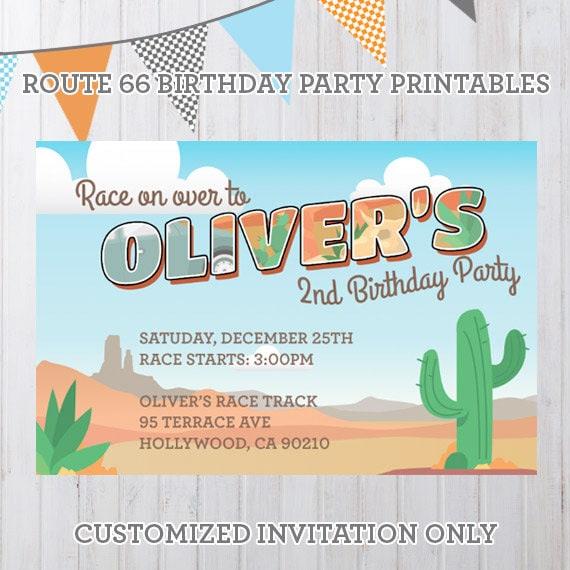 Personalized Radiator Springs Vintage Cars Birthday Party Printables