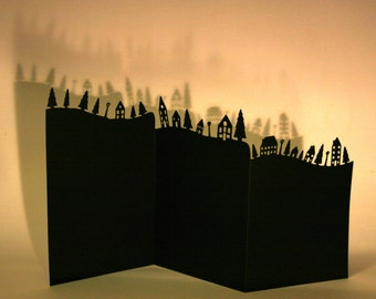 Little Houses Card Paper Cut, Silhouette, Detailed, Black or White