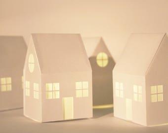 Paper Cut House Lantern, LED Little Tea Light, House Warming Gift, Decoration