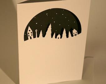 Paper Cut Little houses & trees card, Silhouette, Winter Scene