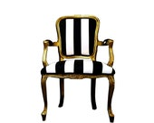 Made To Order - Black and White Striped Louis XV Chair