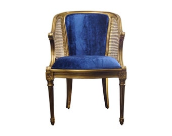 Louis XVI Style Caned Barrel Chair Gold And Blue French Chair