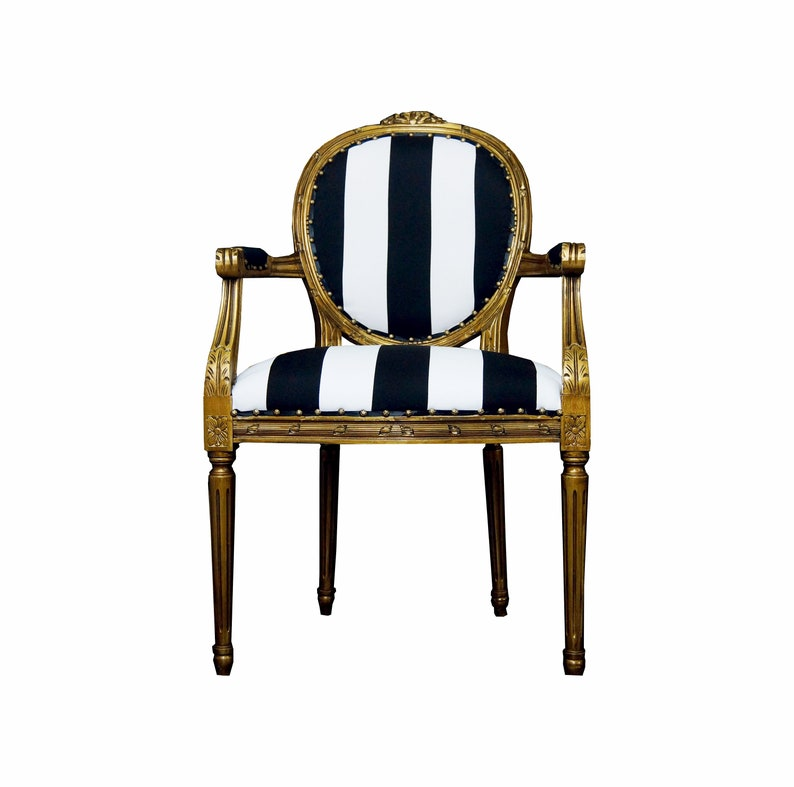 Vintage French Chairs Louis XVI Gold, White And Black Stripe Chairs