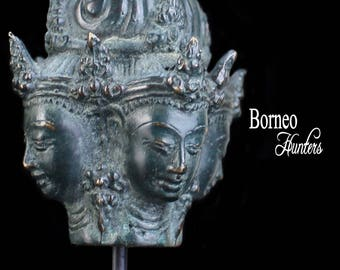 "Brahma Head Sculpture On Stand 6"" Four Faced Brahma; Hindu Lord Brahma ""The Creator"" Of The Universe"