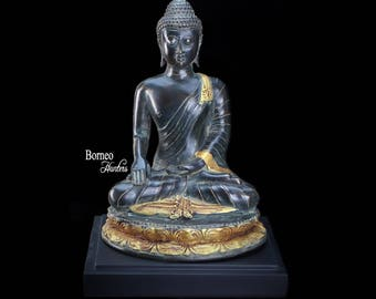 "Meditating Bronze Buddha 10.8"" (27cm)Sitting Buddha Statue In Dhayana Mudra Enlightenment Serene Tranquil Calm Peaceful Decor Sculpture"