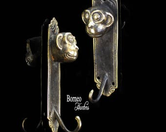 Wise Monkey Coat Hook Key Holder Coat Hanger Wall Mounted Monkey Theme Coat Rack Animal Sculpture(Sold As Pair) Accented Brown Gold Polished