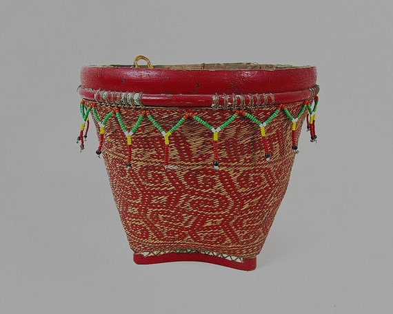 Vintage Woven Basket Borneo Red And Brown Tribal Bidayuh Etsy