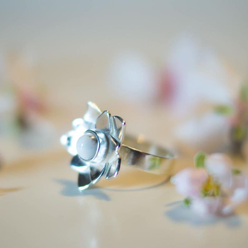bohemian engagement ring flower rings for women floral gift women romantic love ring gift White howlite silver ring cherry blossom ring