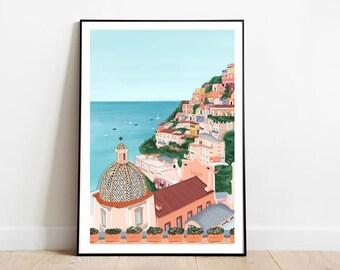 Amalfi coast art print, Amalfi coast print, amalfi coast poster, Amalfi coast art, Amalfi coast Italy, Italy amalfi print, Positano italy