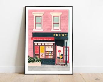 New York bookshop, Bookshop art print, Bookshop art, Book art print, Reading art print, Bookworm art, Books art print, New York art, NYC