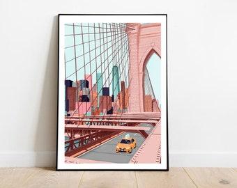 New York, Brooklyn bridge, New York art print, New York art prints, New York wall art, New York poster, New York skyline, New York gift