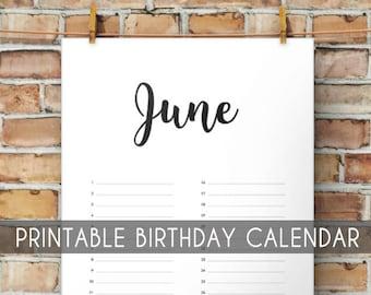 image regarding Free Printable Perpetual Calendar known as Perpetual birthday calendar Etsy