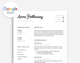 Google Doc Resume Template Cover Letter Instant Download