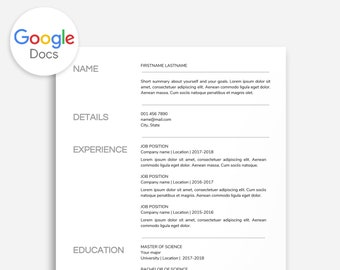 Resume Template Minimal Minimalist Google Docs No Color Ink