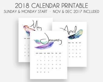 printable 2018 calendar monthly calendar 2018 sunday and monday start sept dec 2017 calendar included calendar planner 2018