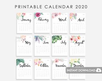 Mini Calendario 2020 Png.2020 Calendar Etsy