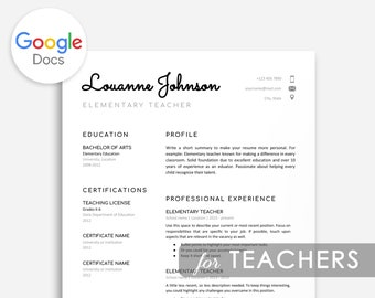Resume Teacher Google Docs Template Cover Letter Cv