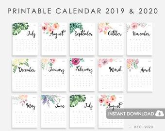 Printable December 2020 Calendar Memo Floral wall calendar | Etsy