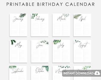 Perpetual Birthday Calendar Etsy