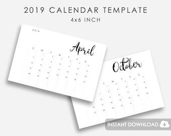 calendar template 2019 2019 calendar template printable etsy