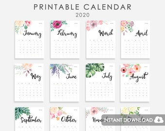 Floral Wreath Calendar 2019 PRINTABLE 2019 Calendar | Etsy