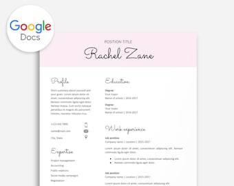 Resume Template Google Docs Google Docs Resume Cover | Etsy