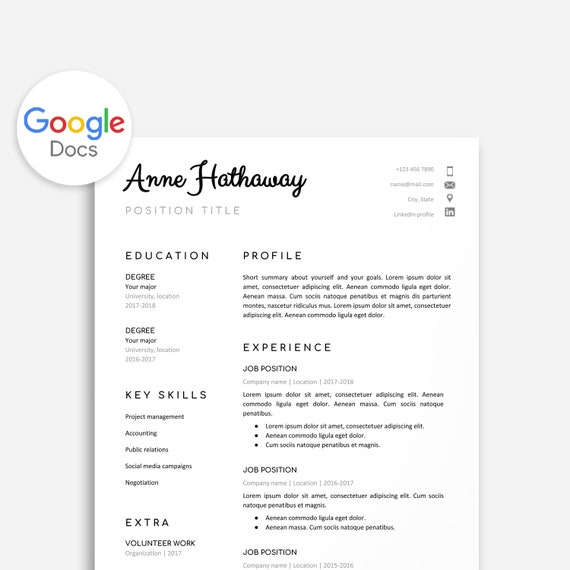 Google Doc Resume Template, Resume Template Google Doc, Google Doc Cover  Letter, Google Doc Cover Letter, Resume Template Instant Download