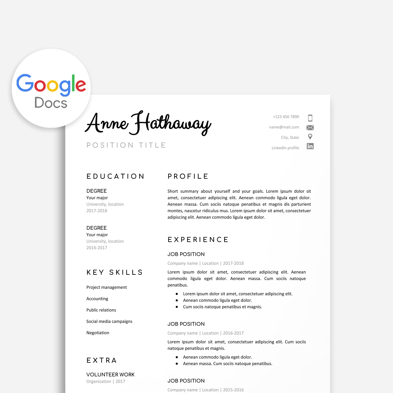 Google Doc Resume Template Resume Template Google Doc Google