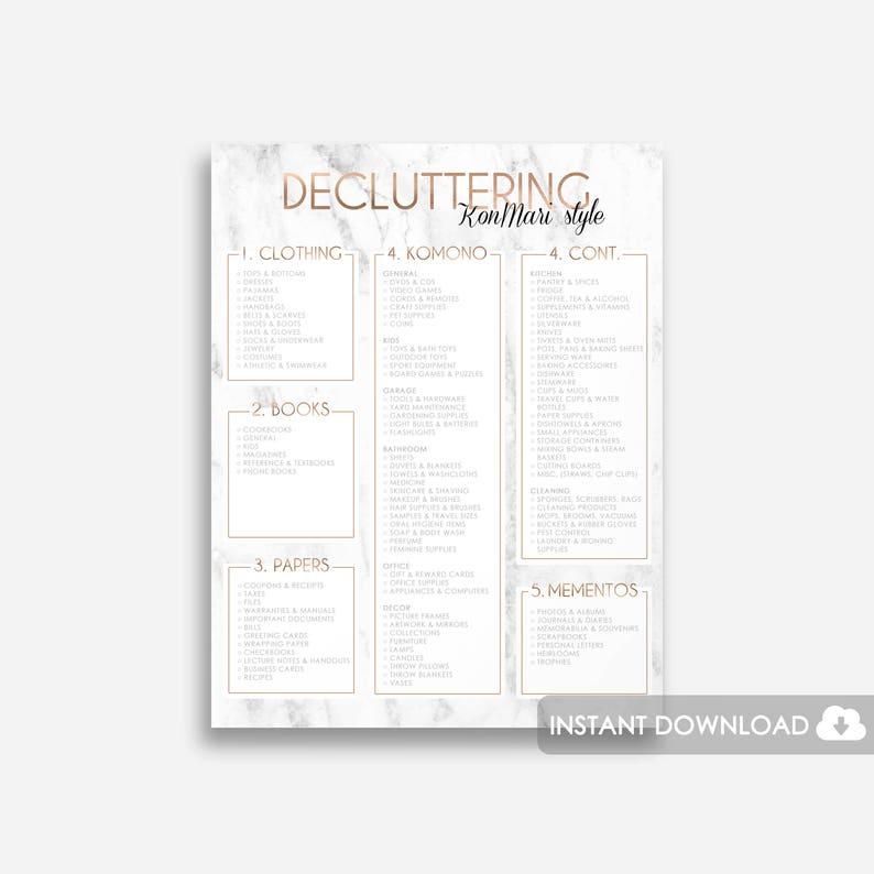 Konmari Decluttering Printable Konmari Printable Marie Etsy