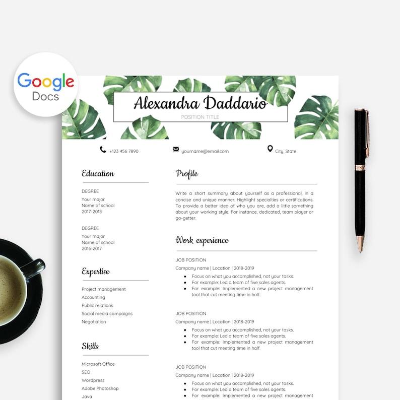 motivatiebrief doc Cv Sjabloon voor Google Docs Google Doc Cv Sjabloon Monstera | Etsy