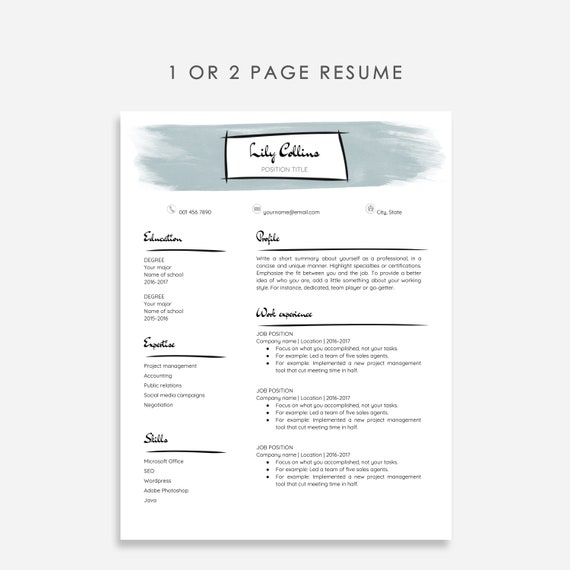 Unique Resume Template Google Docs, Google Docs Resume + Cover Letter With  Blue Watercolor Accents, Artistic Resume Template Google Doc