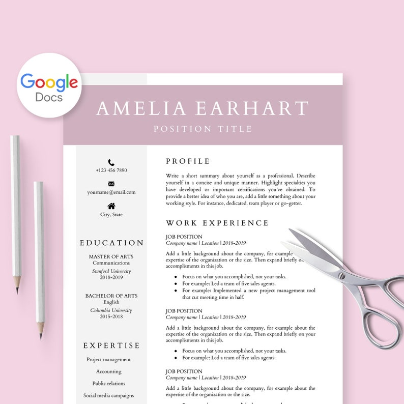 Resume Template For Google Docs Cv Doc Cover Letter Professional