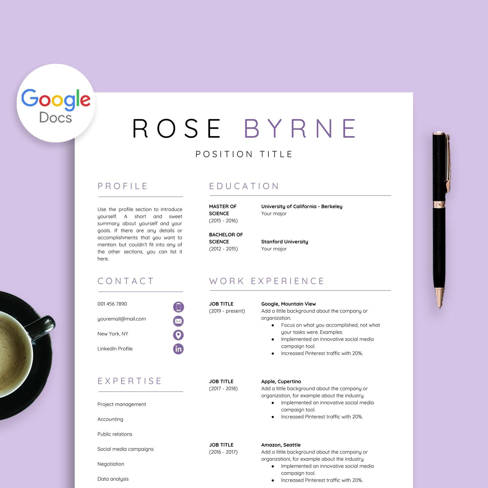 Resume Template Google Docs Cover
