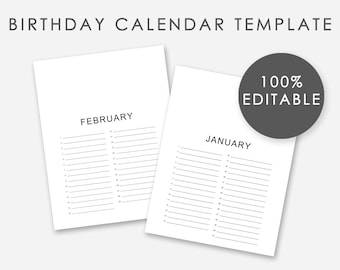 Editable Birthday Calendar Template   Editable Perpetual Calendar Template